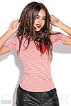 Приталенная футболка в полоску красная, фото 2
