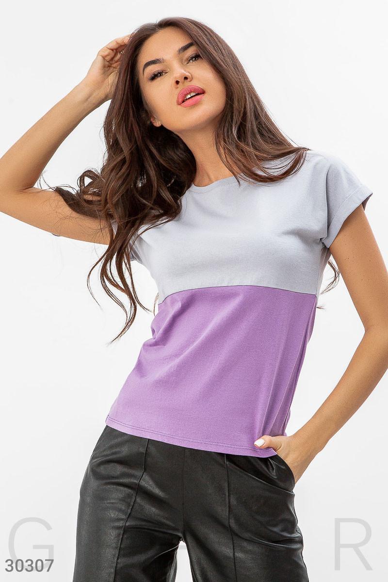 Повседневная женская футболка серо-сиреневая