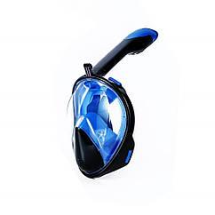Маска для снорклинга AOLAIS полнолицевая с креплением для камеры Черно-голубая