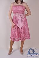 Вечернее платье женское кружевное с атласом (цв.розовый) JINAOSHA 068 Размер:42,44,46