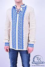 Вышиванка (цв.голубой) мужская (длинный рукав) вышиванка1 Размер:44,46