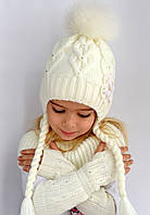Зимняя детская вязанаяшапка. Внутри на флисе, бубон из песца. 4-8 лет,  в наличии