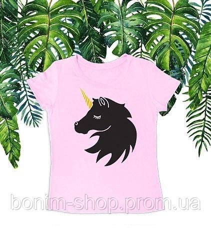 Розовая женская футболка с принтом Единорог