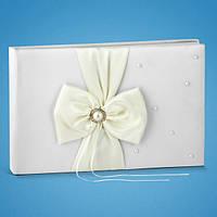Свадебная книга пожеланий цвета айвори с бусинкой
