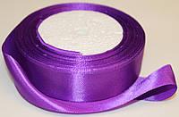 Лента атласная. Цвет - фиолетово-баклажановый. Ширина - 2,5см, длина - 23м