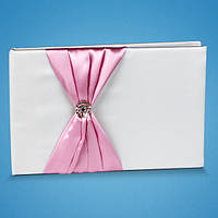 Свадебная книга пожеланий с розовой лентой