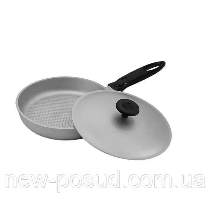 Алюминиевая сковорода с рифленым дном и крышкой 27 см Prolis СК-270Р