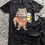 Мужской летний комплект шорты и футболка Beer черный. Живое фото, фото 2