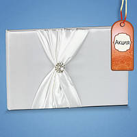 Свадебная книга пожеланий с белой лентой