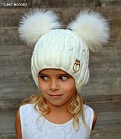 Зимняя шапка с завязками с бубонами из песца, на флисе, 4-12 лет, в наличии