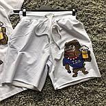 Мужской летний комплект шорты и футболка Beer белый. Живое фото, фото 3
