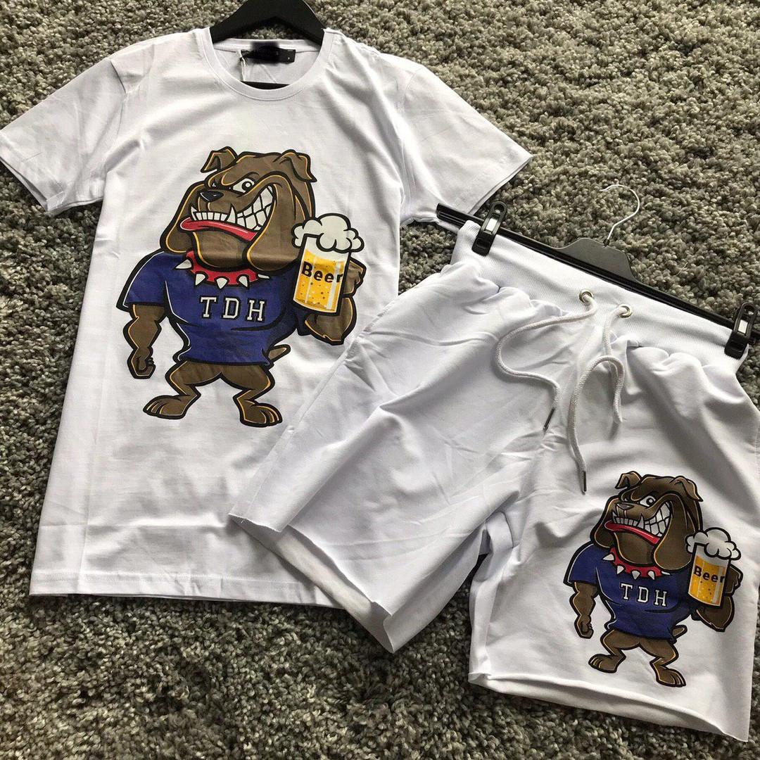 Мужской летний комплект шорты и футболка Beer белый. Живое фото
