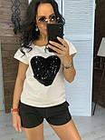 """Женский костюм """"Сердце"""": футболка и шорты с карманами (в расцветках), фото 3"""