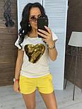 """Женский костюм """"Сердце"""": футболка и шорты с карманами (в расцветках), фото 7"""