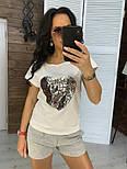"""Женский костюм """"Сердце"""": футболка и шорты с карманами (в расцветках), фото 2"""