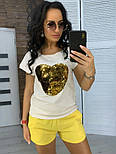 """Женский костюм """"Сердце"""": футболка и шорты с карманами (в расцветках), фото 8"""
