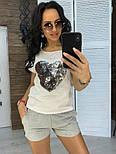 """Женский костюм """"Сердце"""": футболка и шорты с карманами (в расцветках), фото 4"""