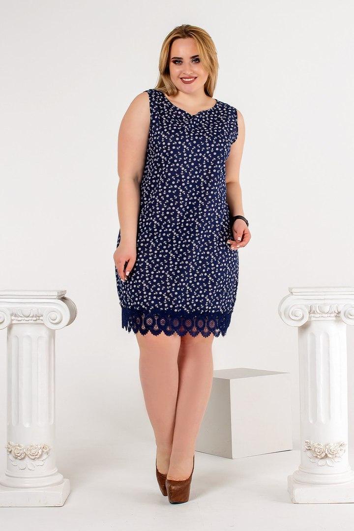 Легке літнє плаття з красивими принтами і мереживною обробкою по подолу, батал великі розміри