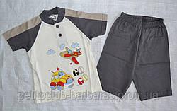 Річна піжама для хлопчиків Go Go сіра: футболка та шорти (OZTAS, Туреччина)