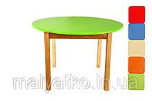 *Дитячий дерев'яний столик з кольоровою круглою стільницею ТМ Фінекс (6 кольорів) арт.031-036