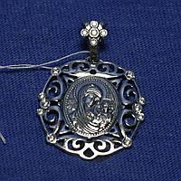Серебряная нательная иконка Божья матерь 37804-ч, фото 1