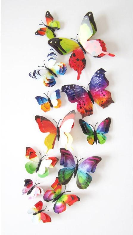 (12 шт) Набор бабочек 3D (на магните),ДВОЙНЫЕ РАДУЖНЫЕ