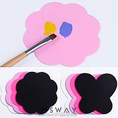 Коврик силиконовый черный цветочек 90х90мм для рисования, стемпинга, нескольжащий, фото 2