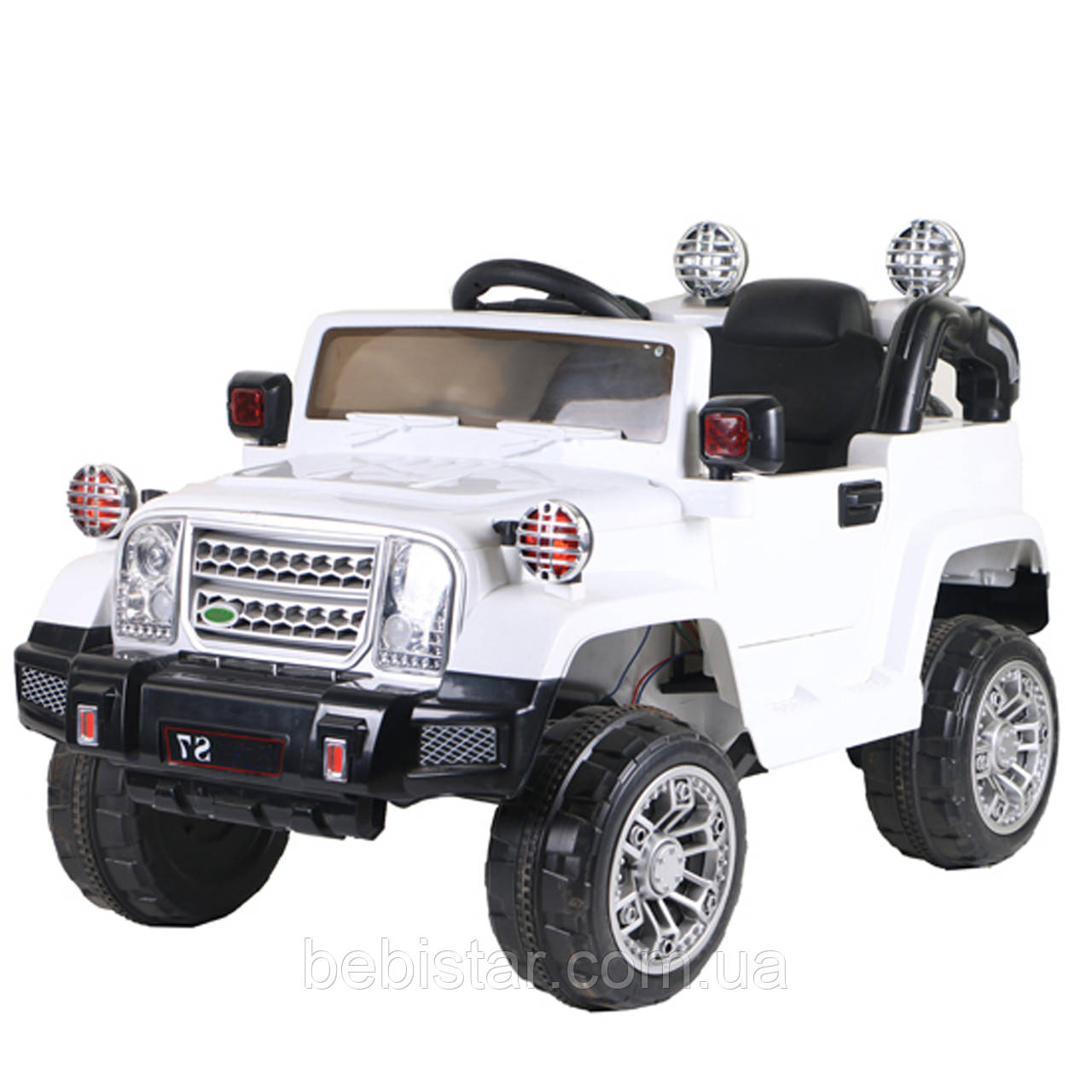 Электромобиль Джип детский белый от 3-х до 8-ми лет с пультом мотор 2*20W батарея 2*6V4.5AH