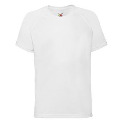 Белая детская спортивная футболка из полиэстера