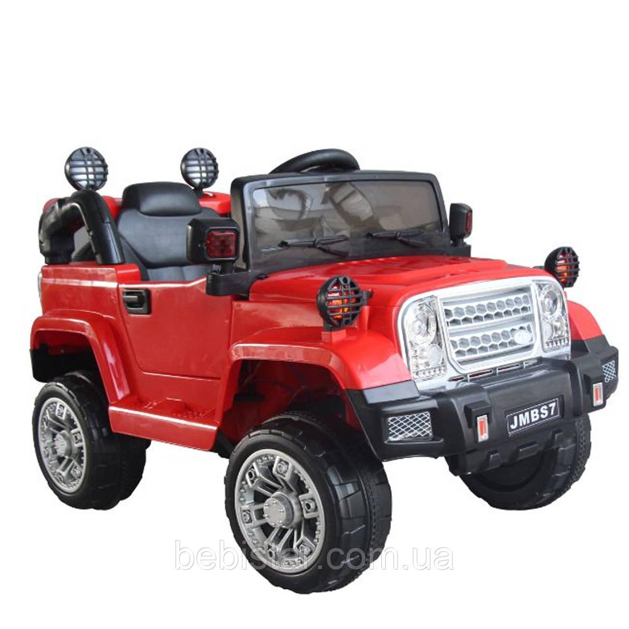 Электромобиль Джип детский красный от 3-х до 8-ми лет с пультом мотор 2*20W батарея 2*6V4.5AH