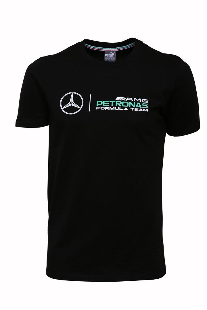 Хлопковая мужская спортивная футболка Puma Mersedes AMG Petronas черная (реплика)