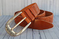 Женский ремень Gucci рыжий кожаный 35мм