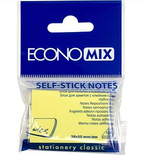 Блок стикеров для заметок Economix 38x50 мм, 100 л., желтый