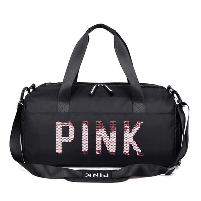 24d6569f0b554 Сумка женская PINK в стиле Victoria's Secret дорожная спортивная для  фитнеса с отделением для обуви (черная)