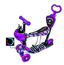Детский самокат Scale Sports 5 в 1 Ветки Орхидеи Светящиеся колеса