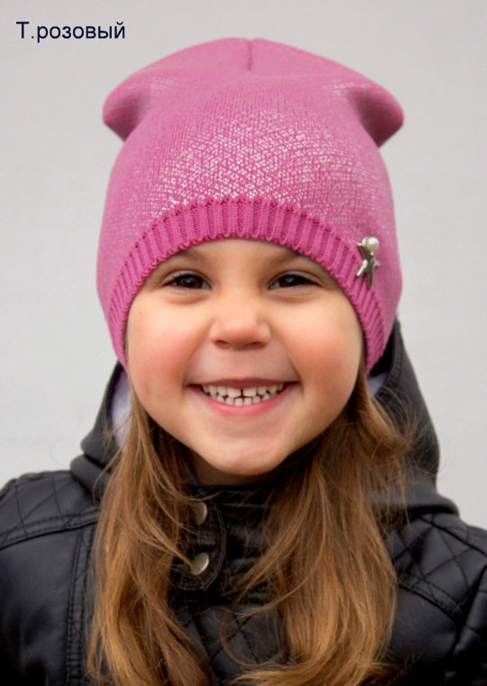 Тонкая шапка для девочки, от 2-х лет, хлопок 60%