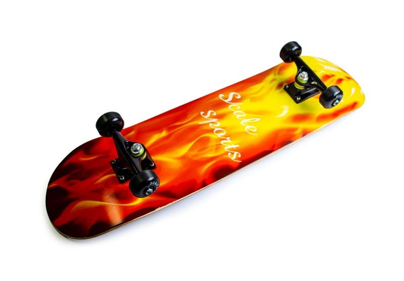 Скейтборд деревянный Scale Sports Yellow fire