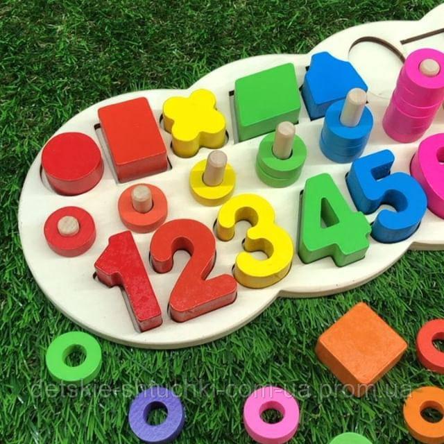 Деревянная игрушка2017.Набор первоклассника с цифрами и фигурами - замечательный способ развивать ма
