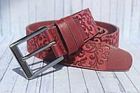 Бордовый женский ремень кожаный 3,5 см