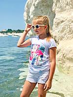 """Детская футболка """"Фламинго"""" для девочек 6-9 лет (р. 116-134) ТМ Модный карапуз Белый 111-00021-0"""