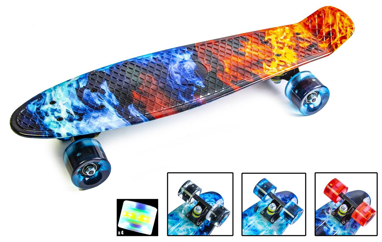 """Скейт. Пенни Борд. Penny Board """"Огонь и лед"""" Светящиеся колеса."""