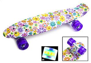 Пенні Борд Penny Board 22Д Violet Flowers Світяться колеса