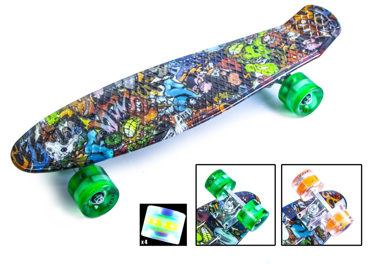 "Penny Board ""Graffiti"" Monsters. Светящиеся колеса."