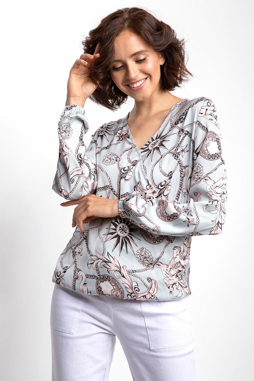 Легкая принтованная блуза ALISE голубого цвета с эффектом запАха и длинными рукавами на резинке