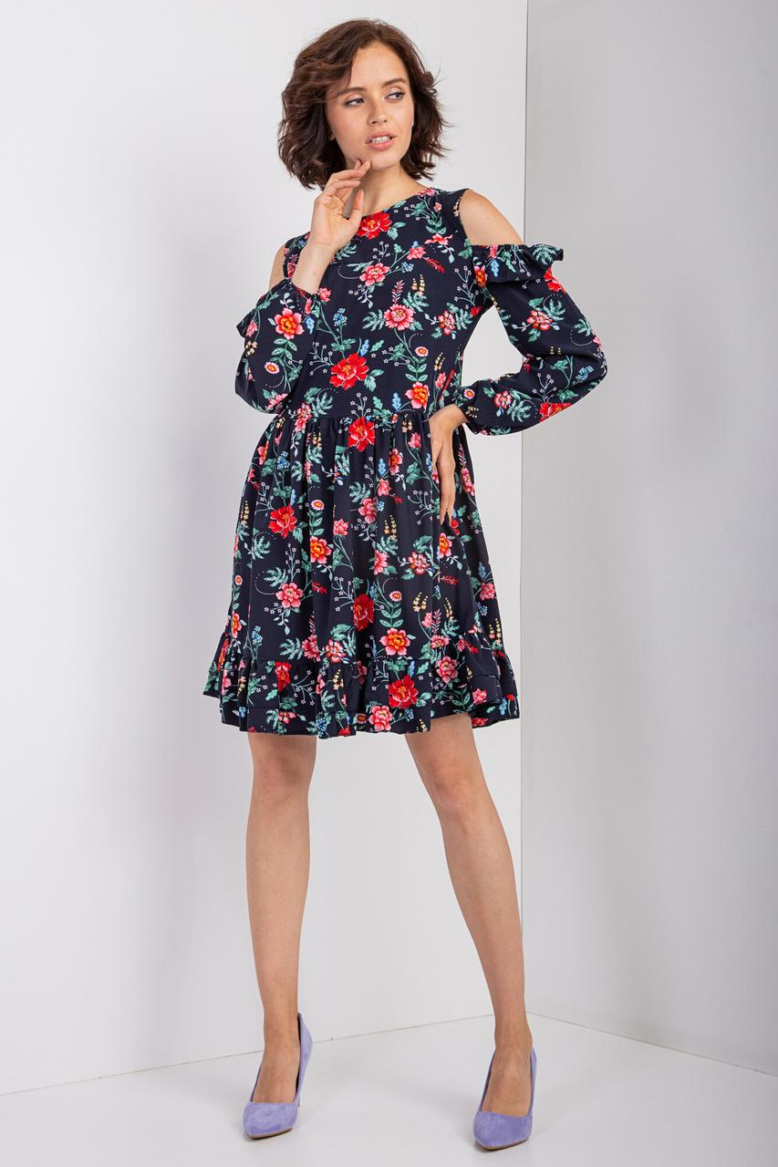 Синее платье AYSEL в мелкий цветочный принт в стиле бэби-долл с открытыми плечами и рюшами