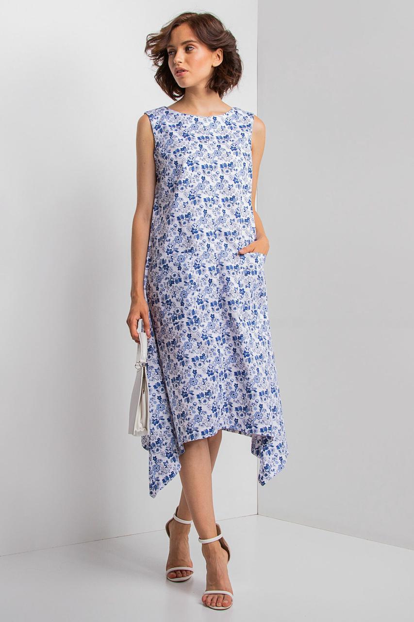 Хлопковое платье KIMBRA миди с асимметрией, накладными карманами и мелкими цветочками