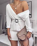 Платье женское летнее стильное с поясом белое чёрное
