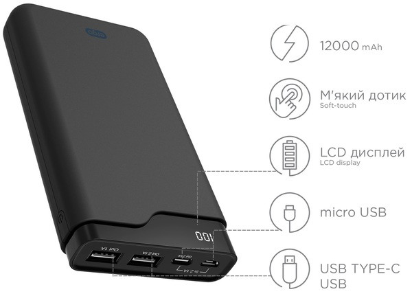 Power Bank ERGO LI-U6 - 12000 mAh Li-ion +TYPE-C Rubber (Black)