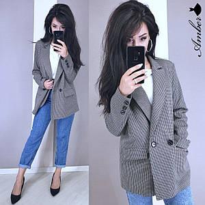 Женский пиджак оверсайз в клетку с карманами 8kz183