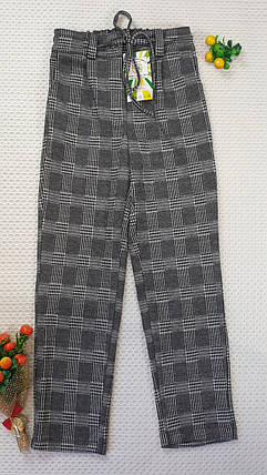 Брюки клеточку с завышенной талией  для девочки в школу 128-152  серый, фото 2